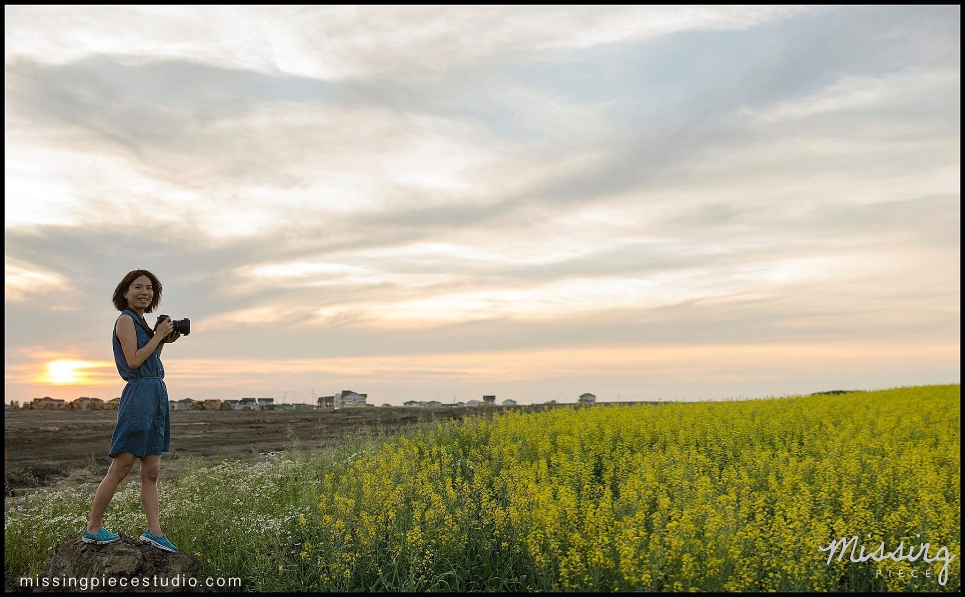 My cousin posing in a beautiful canola field during sunset. You can see how tall these can go just by the way she jumps! Photo taken with an SB700 and Nikon D7000